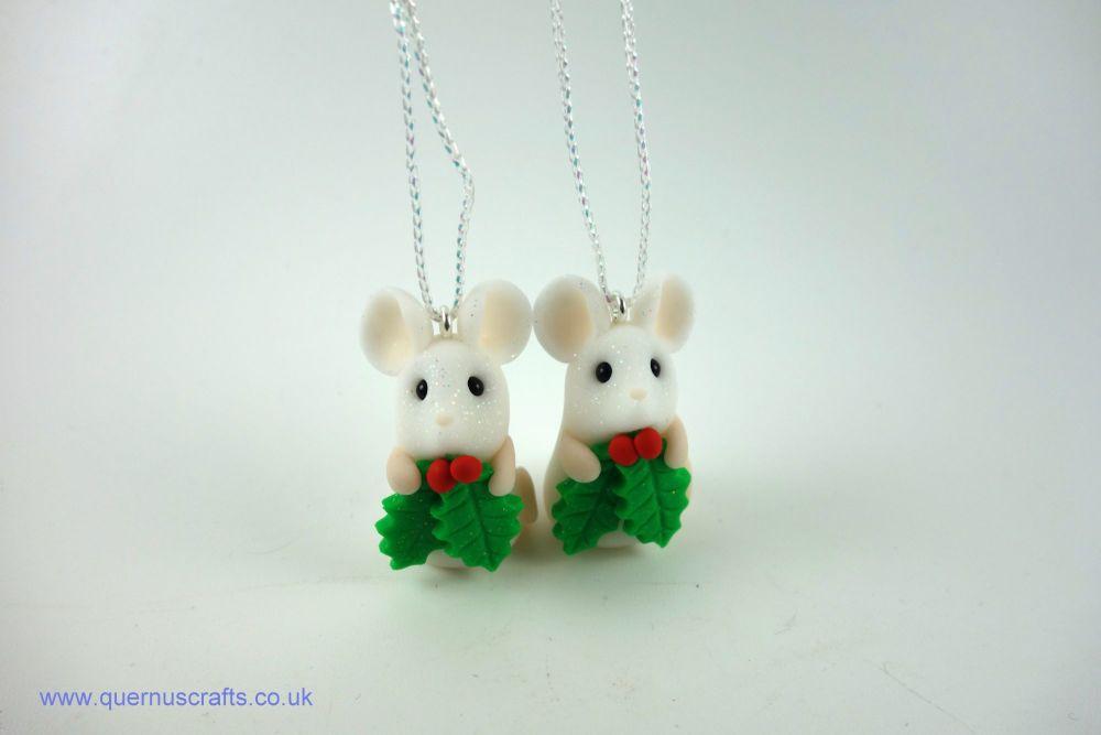 Tiny Holly Mouse Tree Decoration (2 available)