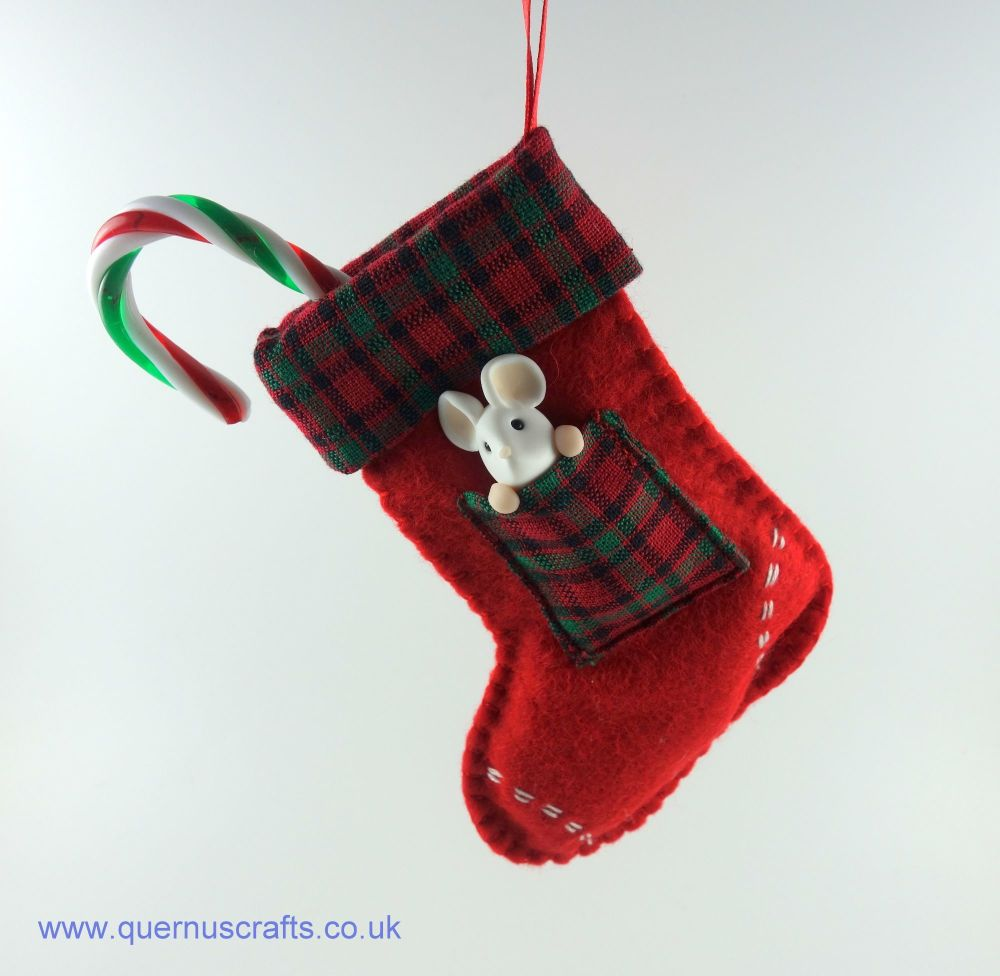 Little Mouse in Christmas Stocking (Red Tartan)