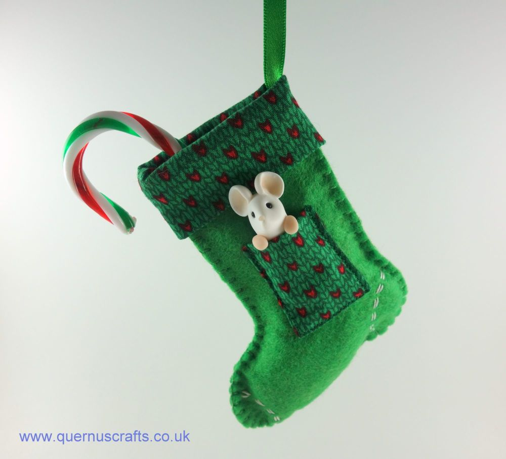 Little Mouse in Christmas Stocking (Green)