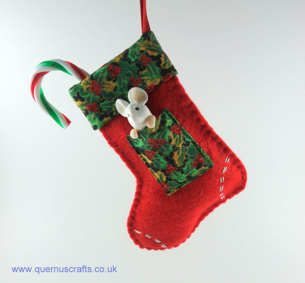 Little Mouse in Christmas Stocking (Red Holly)