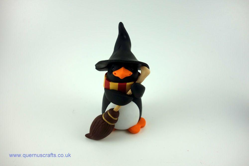 Wee Gryffindor Penguin with Broomstick