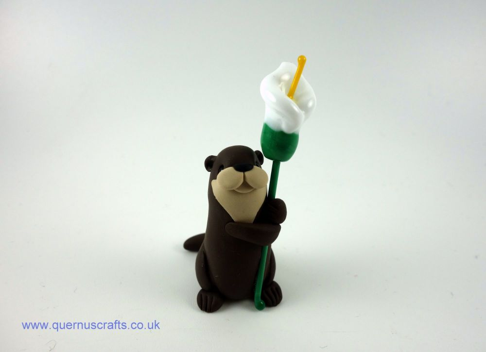 Little Otter with Glass Lily