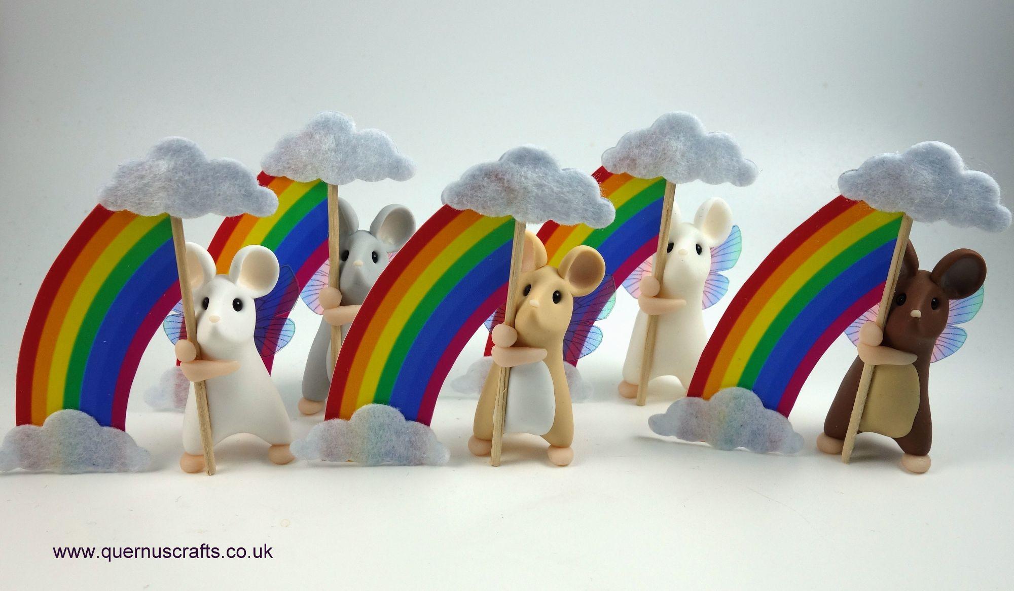 August - Wee Rainbow Cloud Fairy Mice