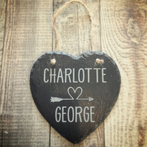 Personalised Hanging Slate Heart with Stylish Heart & Arrow Design.