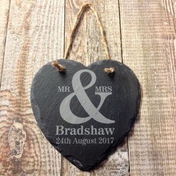 Personalised Mr & Mrs Hanging Slate Heart