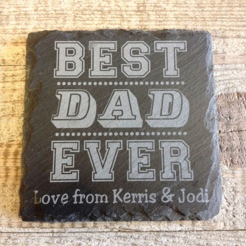 Personalised Best Dad Slate Coaster