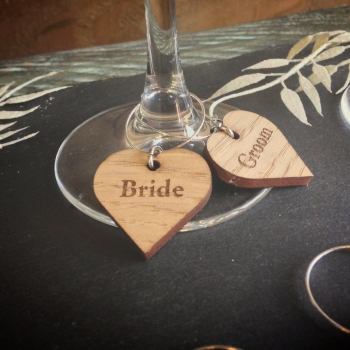 10 x Wooden Heart Shaped Wine Glass Charms