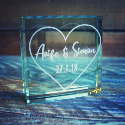 Engraved Jade Glass Block with Heart Outline