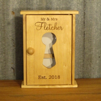 Engraved Wooden Key Cabinet