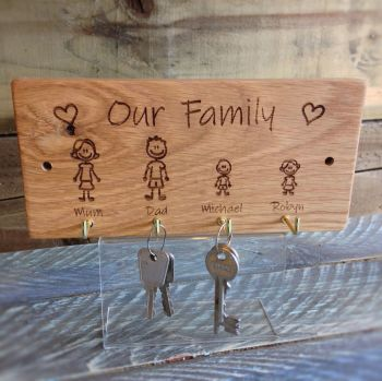 Engraved Oak Wall Key Hanger.