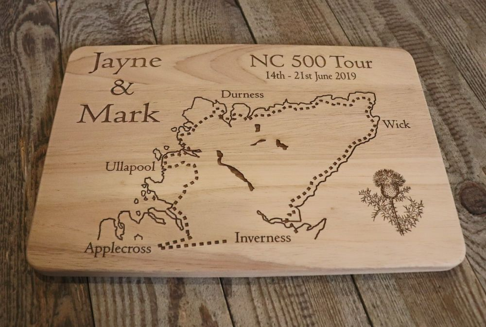 Personalised Wooden North Coast 500 Tour Chopping Board