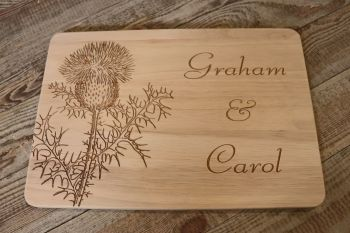 """Thistle"" Personalised Wooden Chopping Board. 30 x 20cm"