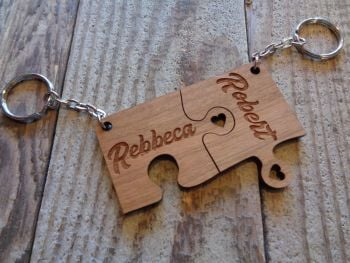 Personalised Wooden Jigsaw Keyring Set.