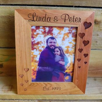 "Personalised  6"" x 8"" Oak Photo Frame."