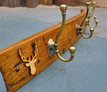 Oak Whisky Barrel Stave Coat Rack