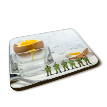 """Egg and Soldiers"" Gloss Finished Coaster"