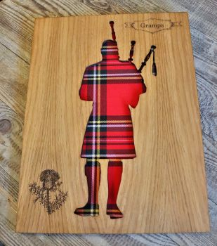 """""""Piper"""" Wall Art Panel with Engraved Thistle Motif."""