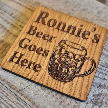 Personalised Dimpled Pint Glass Wooden Beer Coaster - WBC01