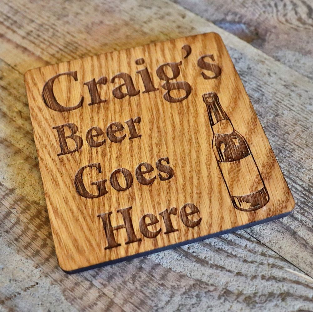 Personalised Beer Bottle Coaster - WBC02