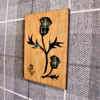 Scottish Thistle Wall Art with Engraved Thistle & Tartan Inlay.