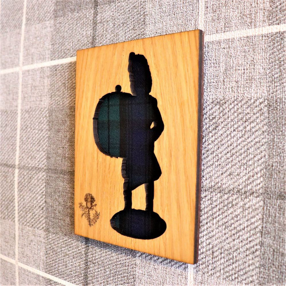 Scottish Pipe Band Bass Drummer Wall Art with Engraved Thistle & Tartan Inl