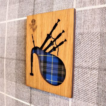 Scottish Bagpipes Wall Art with Engraved Thistle & Tartan Inlay