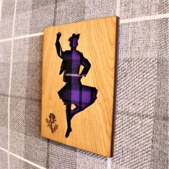 Male Highland Dancer Wall Art with Engraved Thistle & Tartan Inlay.