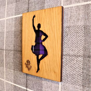 Female Highland Dancer Wall Art with Engraved Thistle & Tartan Inlay.
