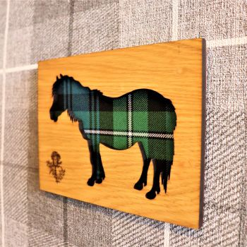 Shetland Pony Wall Art with Engraved Thistle & Tartan Inlay.