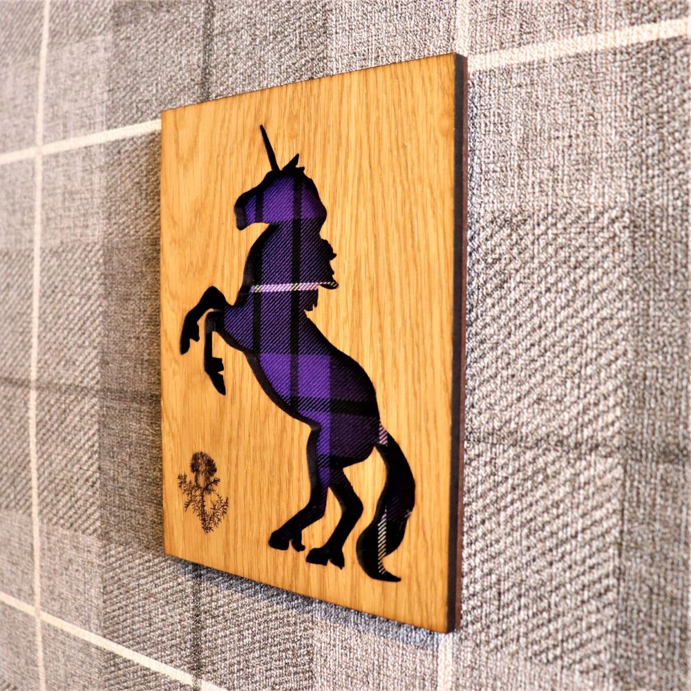 Scottish Unicorn Wall Art with Engraved Thistle & Tartan Inlay.
