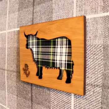 "Highland Cow ""Heilan coo""  Wall Art Panel with Engraved Thistle Motif & Tartan Inlay. Side on."