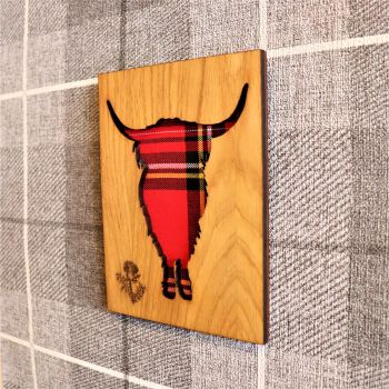 "Highland Cow ""Heilan coo""  Wall Art Panel with Engraved Thistle & Tartan Inlay. Face on"