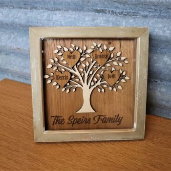 White Wood Family Tree on Oak Backing with Oak Hearts.  Fits up to 8 Hearts.