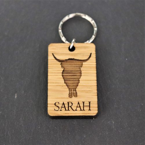 Personalised Highland Coo Keyring. Scottish Cow.