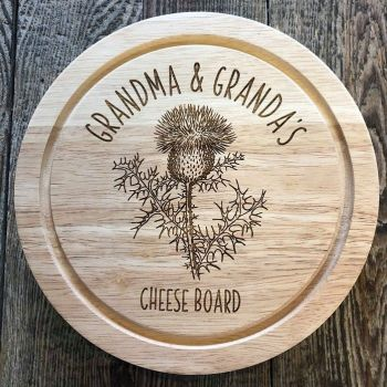 Personalised Thistle Motif Cheese Board Set.
