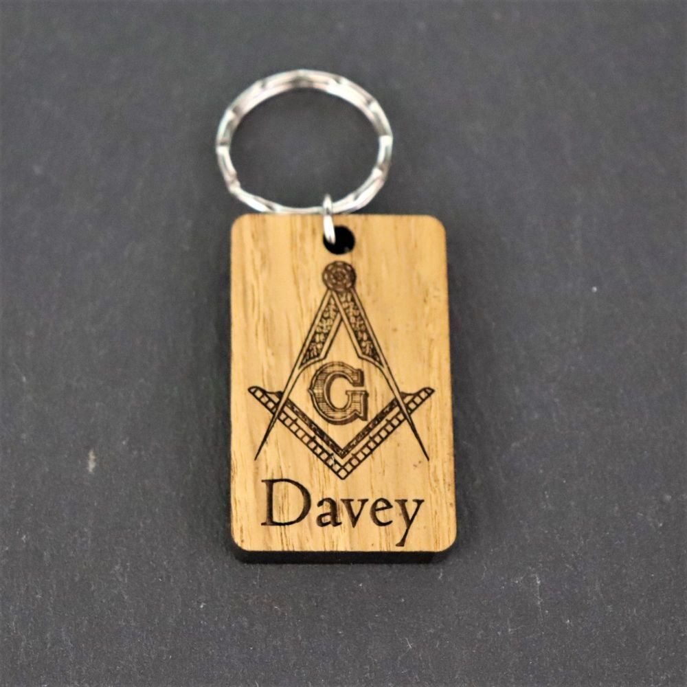 Personalised Masonic Keyring. Square and Compass Symbol.