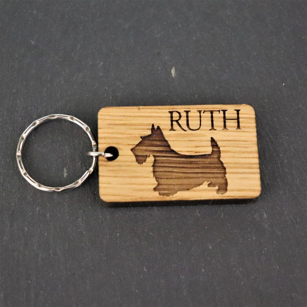 Personalised Scottie Dog Keyring. Scottish Terrier.