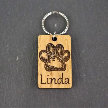 Personalised Dog Paw Keyring.