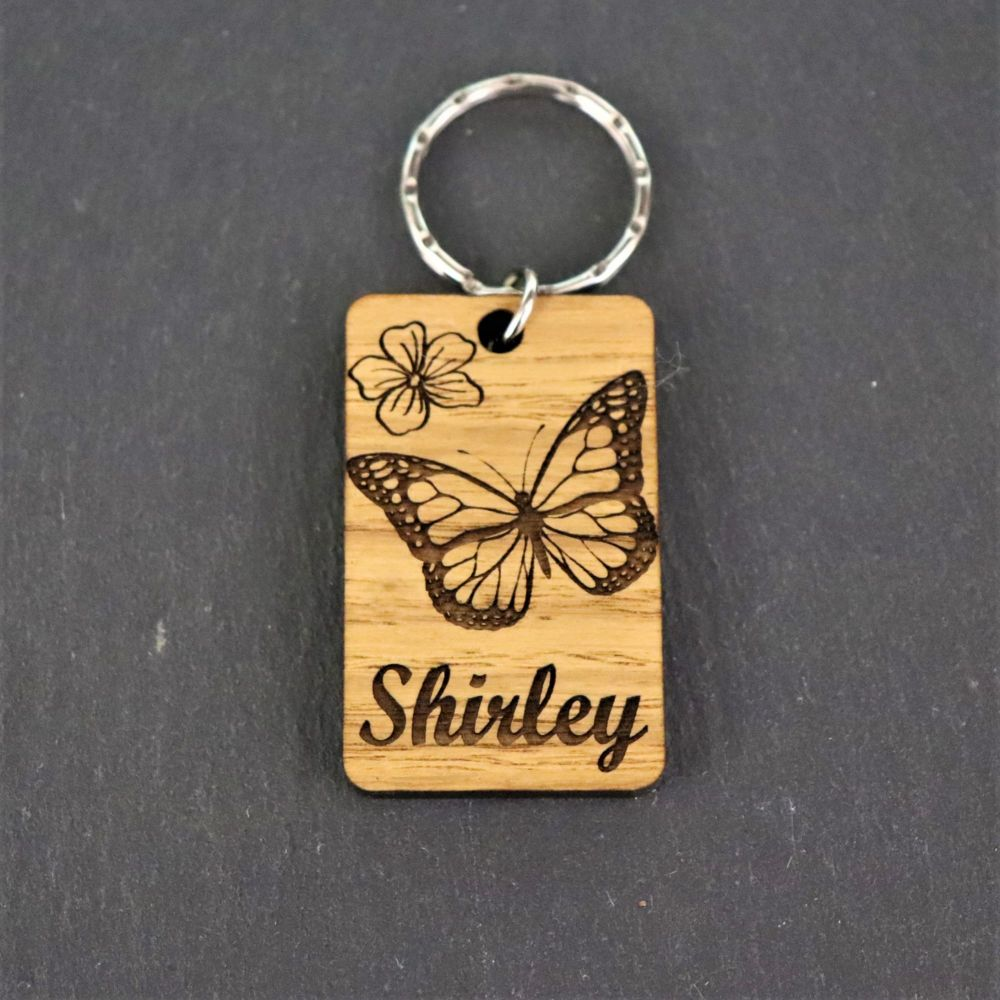 Personalised Butterfly Keyring.