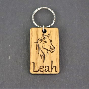 Personalised Horse Head Keyring.