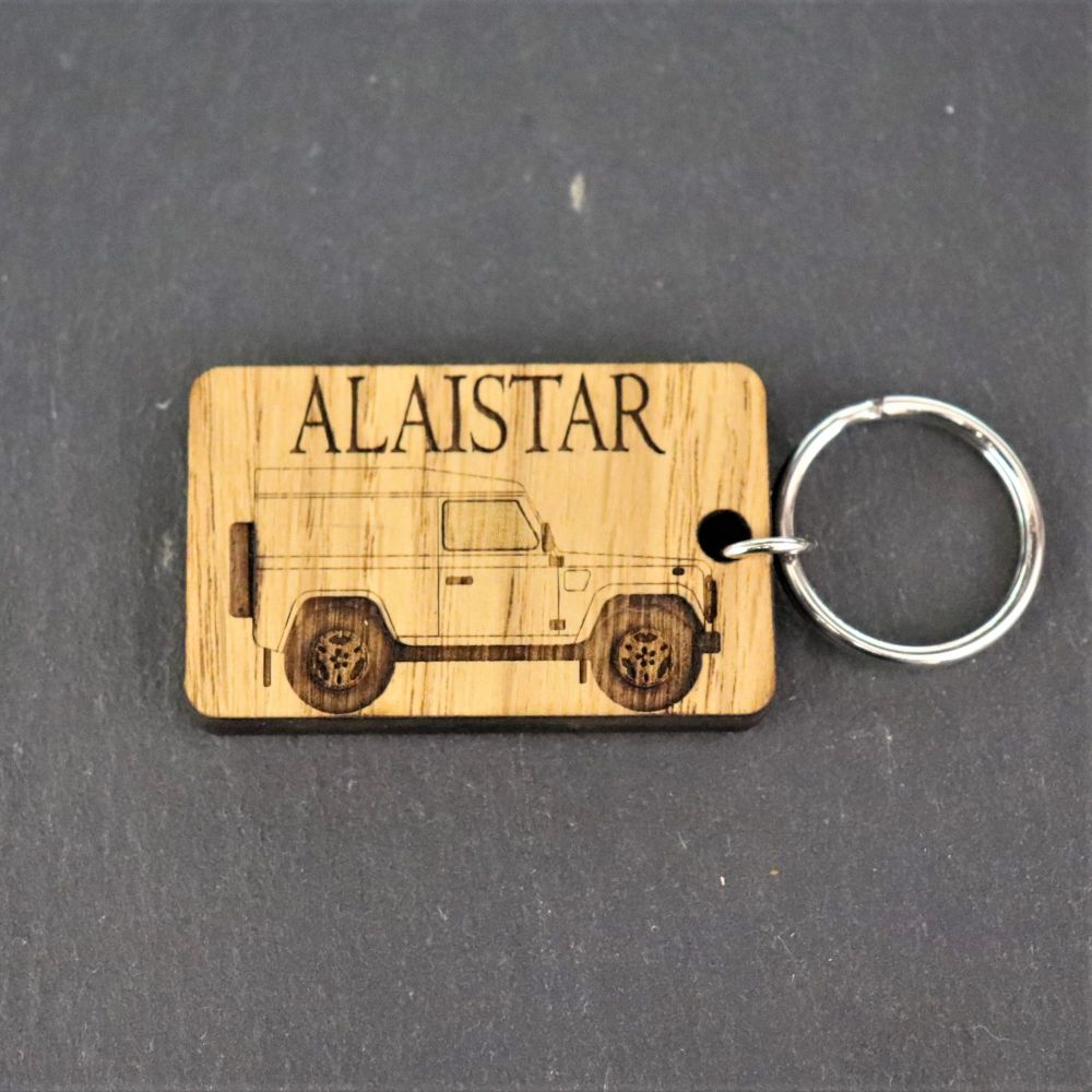 Personalised L/R Defender Keyring.