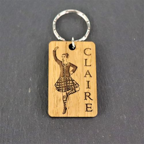 Personalised Female Highland Dancer Keyring.