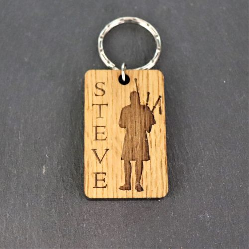Personalised Piper Motif Keyring. Face on. Bagpipes.