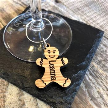 Ginger Bread Man Wine Glass Charm