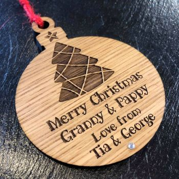 Classic Bauble Shape Christmas Tree Decoration With Engraved Tree Design - CB12