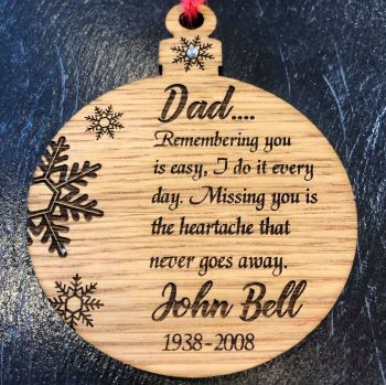 Personalised Remembrance Bauble - Memorial Christmas Tree Decoaration - CB15