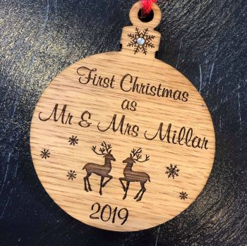 """Deer Design """"First Christmas as"""" Tree Decoration - CB17"""