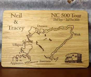 Personalised NC500 Oak Veneer Wall Plaque.