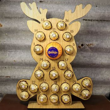 Little Rudolph Advent Calendar - Ferrero Rocher + Terrys Chocolate Orange Nose - Sorry chocolates not included.