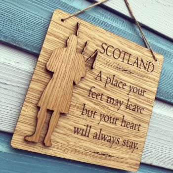 "3D Piper Oak Veneer Wall Plaque.  ""SCOTLAND"" A place your feet may leave...."